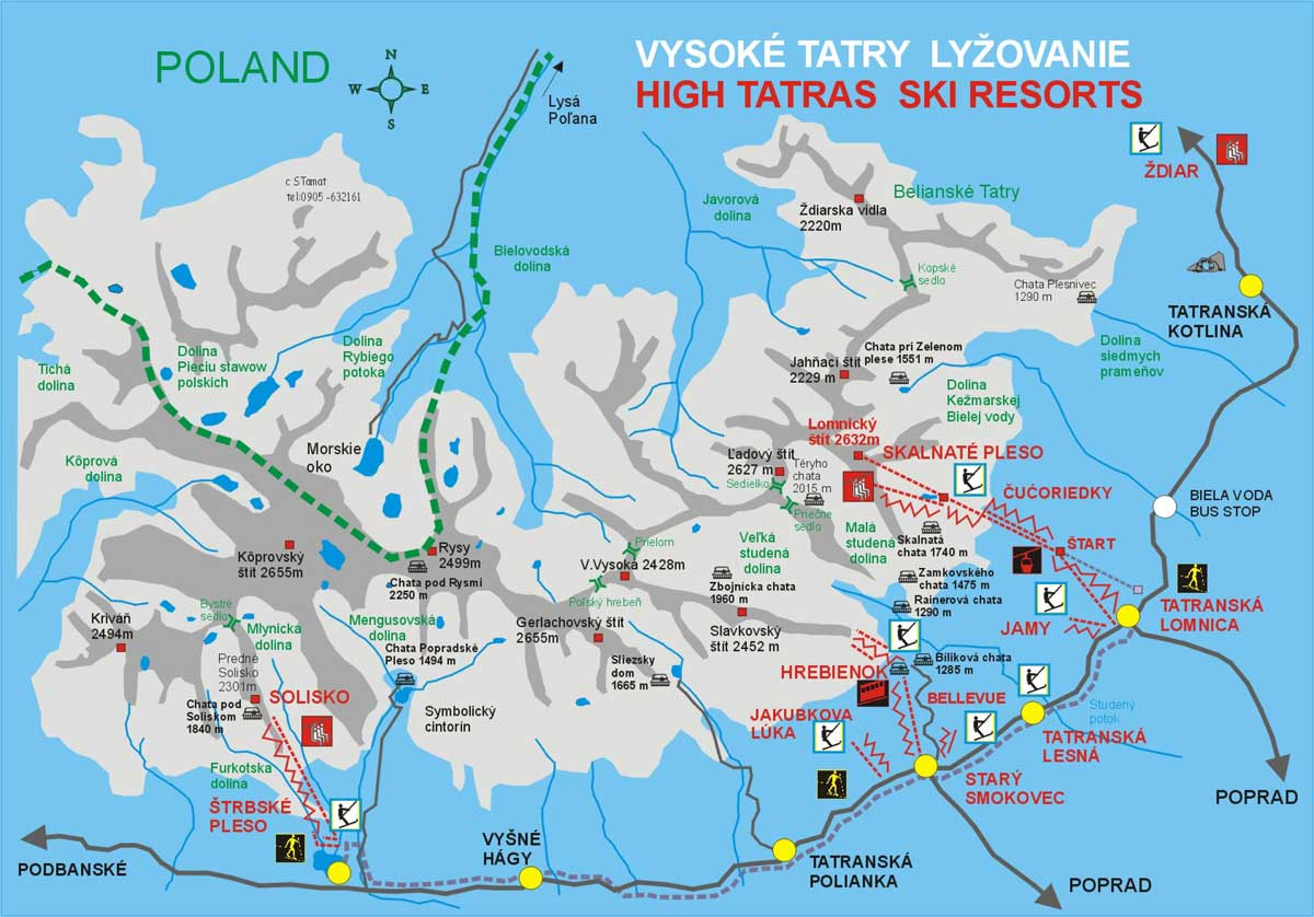 zakopane térkép Síelőknek/Snowboardosoknak | .magas tatra.hu zakopane térkép